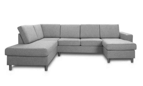 Pisa venstrevendt U-sofa - lys granitgrå stof