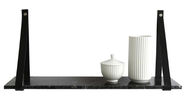 Design by BOBO Harrevig væghylde læder og marmor i smuk harmoni