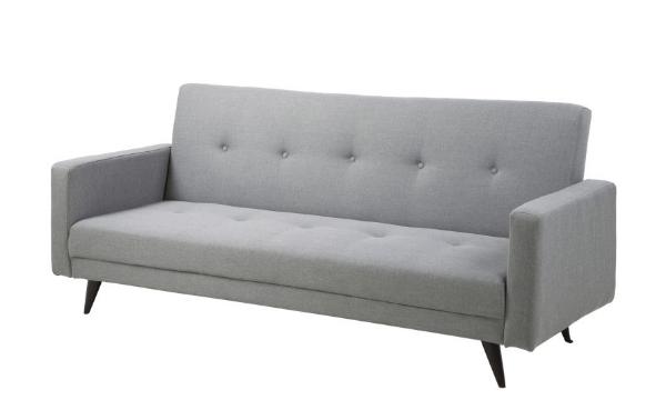 Leconi sovesofa i gråt stof – en klassisk, smuk og praktisk sofa
