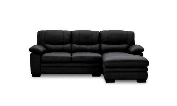 Moby sofa m. chaiselong – sort læder, højrevendt – til dig, der kan lide at koble af i stuen