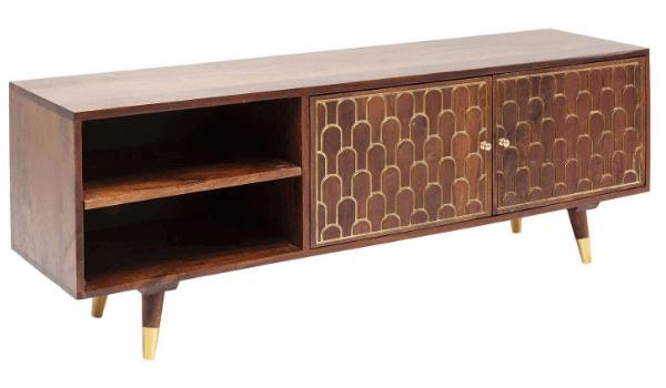 KARE DESIGN TV-bord guld og mangotræ i visuel symfoni