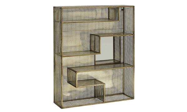 Vægreol i metal med spejl – 91x75 – metal guld – til den stilbevidste og praktiske indretning