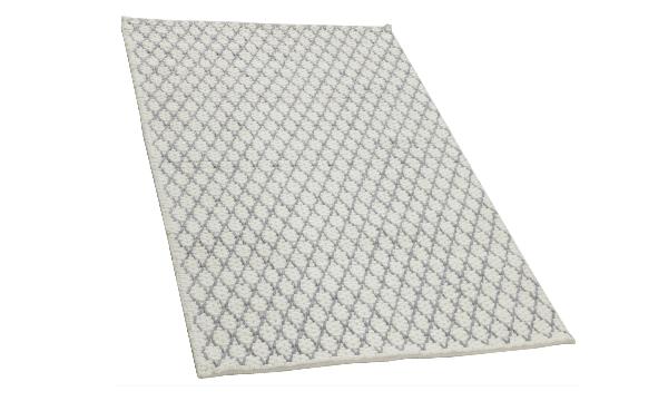 DIAMOND hvid/grå håndvævet tæppe – moderne uldtæppe fra Indien