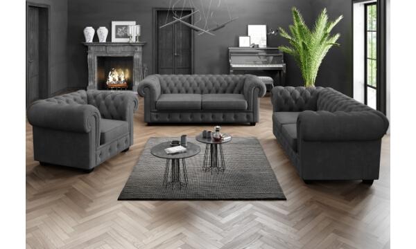 Chesterfield Manchester 1+2+3 pers sofasæt grå skaber rammer for hygge og matcher lige præcis dit hjem