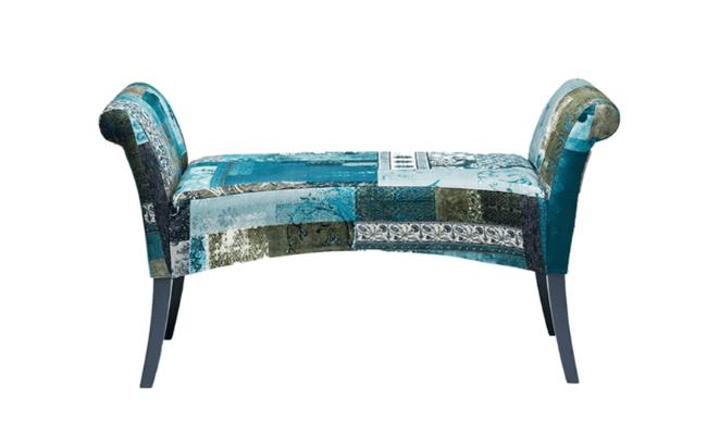 Kare Design Motley H61xB110xD40 blå bomuldsbænk