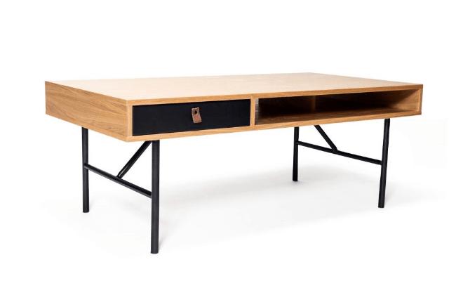 Njordec Kodiaq L60xB117xH45 sofabord med skuffe og hylder