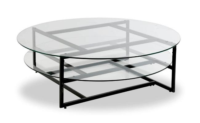 Torino Ø120xH36 sofabord med dobbelt bordplade i glas