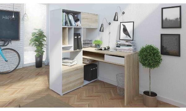Function Plus hjørneskrivebord – hvid/egetræsstrutur, m. 1 skuffe er en smuk og anderledes arbejdsstation