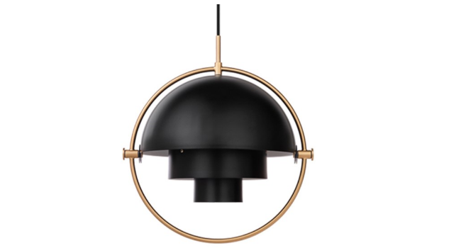 GUBI Multi-Lite Pendel Sort og Messing – justerbar lampe