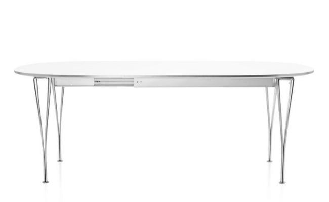 Piet Hein Super Ellipse hvidt spisebord med udtræk