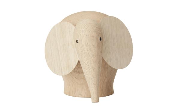 WOUD Nunu elefant medium i naturligt egetræ